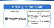 There are two distinct product groups focused on mobility at Microsoft: one for the enterprise handheld devices industry (WEB), and one committed to the mobile phone needs of customers for all types of end users (MCB).