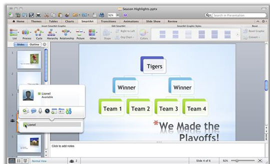 Using co-authoring you clearly see where another editor is working in the same presentation, access their contact information, and connect with them without leaving PowerPoint.