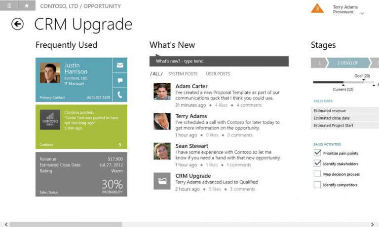 Microsoft Dynamics CRM Windows 8 Mobile Experience – social feed