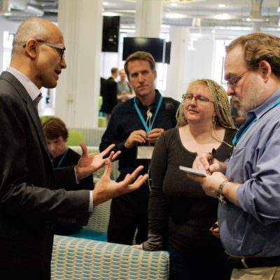 The audience engages as Satya Nadella, executive vice president, Cloud and Enterprise Division, discusses the enterprise, cloud computing and Microsoft news.