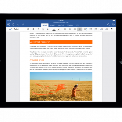 Microsoft Word is now available on the iPad.