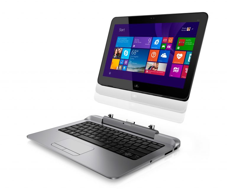 The HP Pro x2 612 2-in-1 Windows-based PC, seen on stage at the Microsoft Computex keynote 2014.