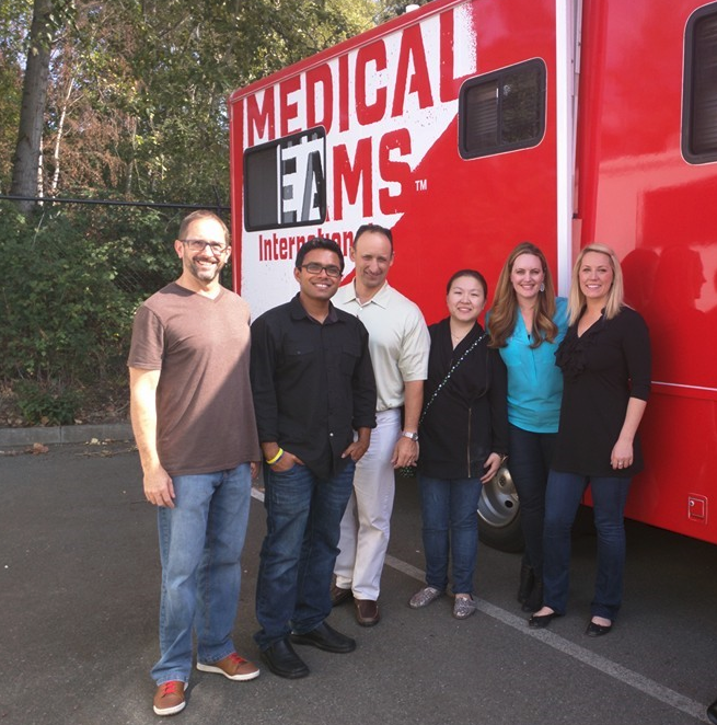 The loaned professionals visit nonprofits to learn about their work and the people they help. Pictured here: Dave Barnett, Suveen Reddy, David Ursino, Yan Zhong, Suzy DeKay and Jennifer Emkjer.