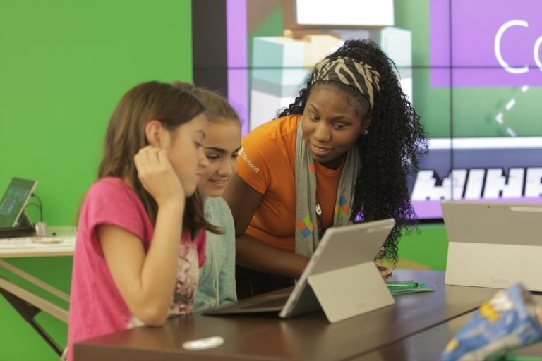 Students learn computer science at the Microsoft Store with free classes and workshops year-round.