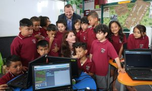 Microsoft and OMG Tech visit Sylvia Park School in Mt Wellington, Auckland, where the children learned an hour of code in Te Reo. Credit; Peter Meecham/ www.photosport.nz