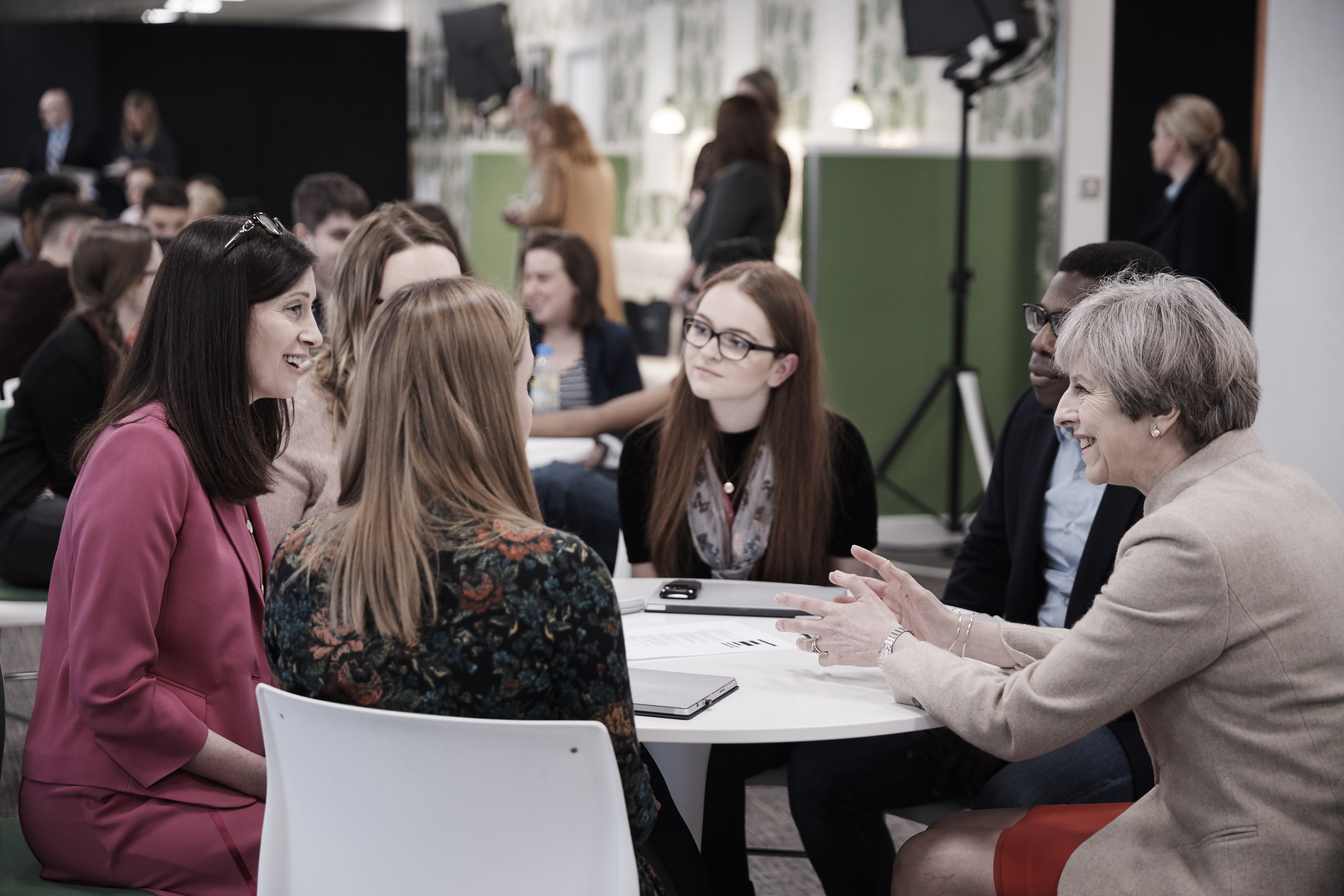 Prime Minister Theresa May and Microsoft UK CEO Cindy Rose meet interns, apprentices and graduates