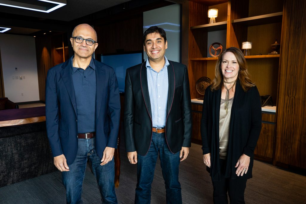 Picture of Satya Nadella, Naveen Tewari and Peggy Johnson