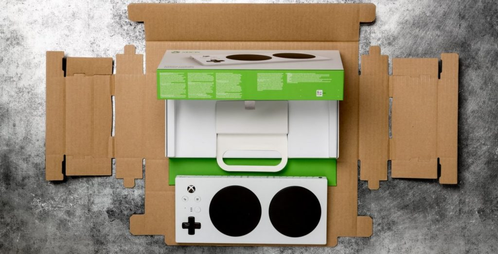 xbox adaptive controller inside its packaging