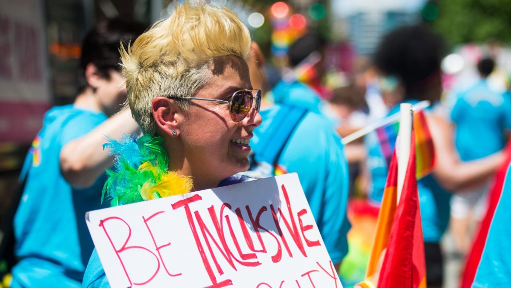 Microsoft employees, friends and family participate in the Seattle Pride Parade on Sunday, June 25, 2017. (Photo by Dan DeLong)