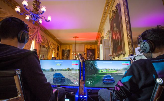 Playing Forza Horizon 4 in Goodwood House