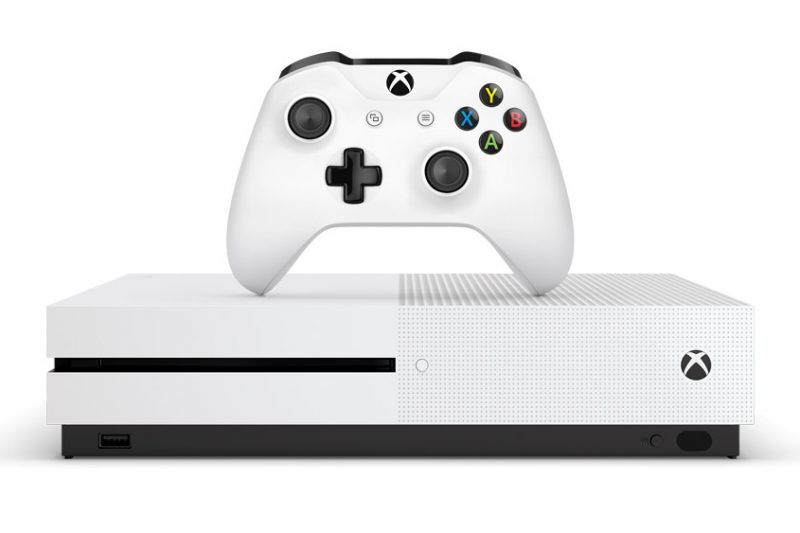 Xbox One S console and controller placed horizontally