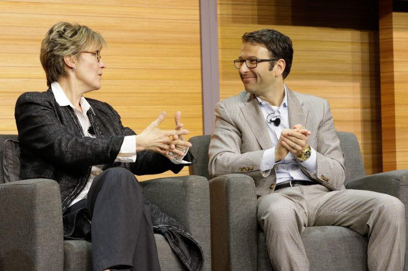 Abbie Lundberg, contributing editor for Harvard Business Review Analytic Services, and Judson Althoff, executive vice president of Microsoft's Worldwide Commercial Business, on stage at the April 26 Digital Difference event in New York.