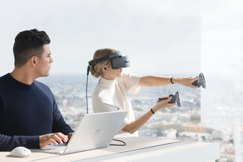 Customers can connect their headset and motion controller to Surface Book 2 and experience the best of Mixed Reality on Windows 10.