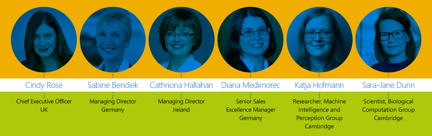 Graphic shows six female leaders at Microsoft in Europe