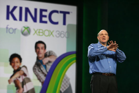 Microsoft CEO Steve Ballmer delivers his keynote address at the Consumer Electronics Show (CES) 2011, where he provided updates on Kinect for Xbox 360 and Windows Phone, and also previewed several new Windows PC devices coming to market. Las Vegas, Nev. Jan. 5, 2011.