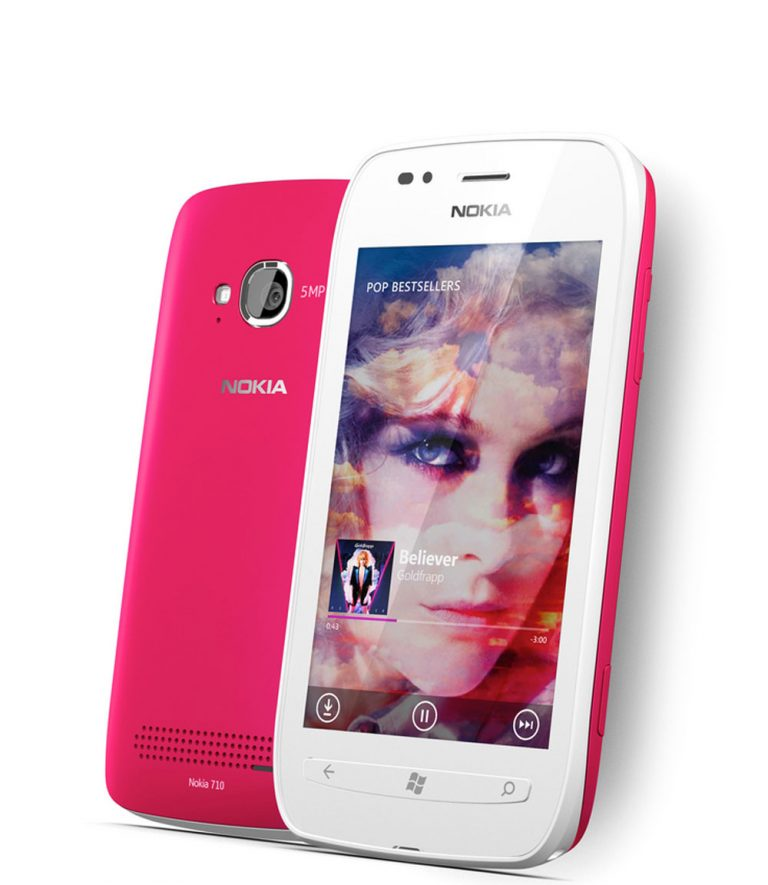 Shown here in white with a magenta back cover, the Nokia Lumia 710 brings the Lumia experience to more people around the world.