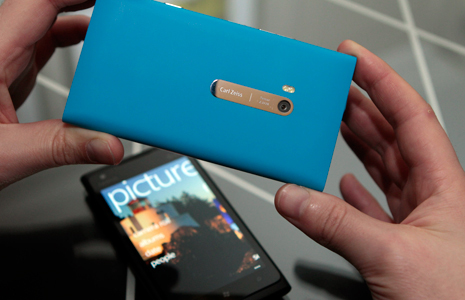The Nokia Lumia 900 has the popular polycarbonate unibody design pioneered by the Nokia N9 and the Nokia Lumia 800, which looks and feels great, and protects the phone at the same time. Photo courtesy of Nokia.