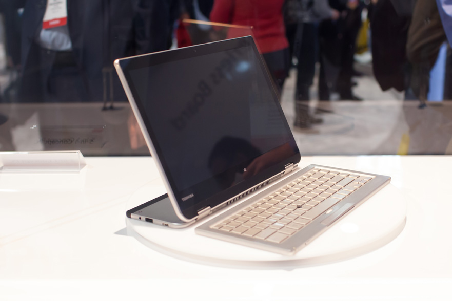 Toshiba's 5-in-1 concept PC at CES 2014 converts to a variety of useful poses.