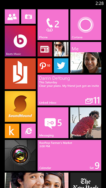 Previously introduced only on devices with larger than five-inch screens, Microsoft added a third medium column on the Start screen. Now with Windows Phone 8.1, any user can turn on this enhanced layout, providing an expanded canvas to express their individuality.