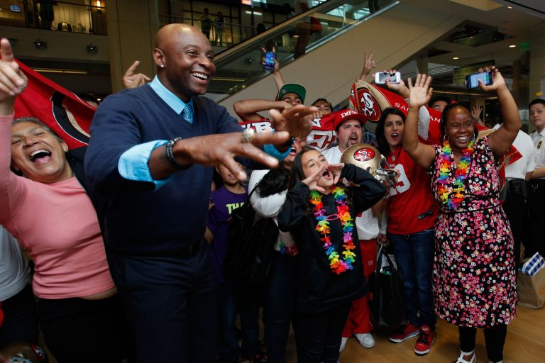 Retired NFL wide receiver Jerry Rice participates in a Skype conversation between the Westfield San Francisco Centre and Bellevue Square Microsoft stores.