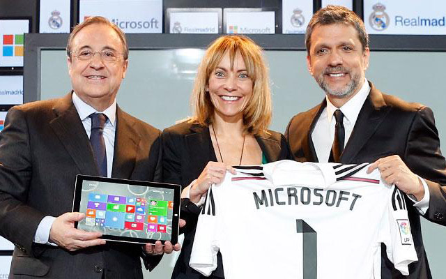 Left to right: Real Madrid President Florentino Perez, Microsoft Country Manager of Spain Maria Garaña and Microsoft Corporate Vice President and Chairman, Emerging Markets, Orlando Ayala.