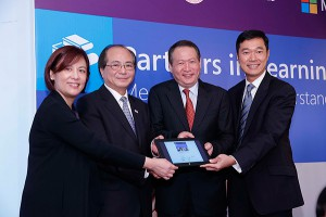 (From left to right): Dr. K K Chan, Deputy Secretary for Education, the Hong Kong SAR Government, Eddie Ng Hak-kim, SBS, JP, Secretary for Education, the Hong Kong SAR Government, Ken Wye Saw, Vice President of Asia Public Sector of Microsoft and Horace Chow, General Manager of Microsoft Hong Kong