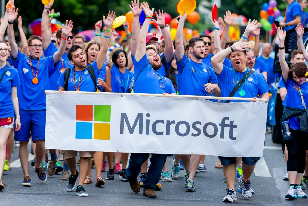 Microsoft employees, partners, family and friends march along the three-mile route of Seattle's 41st annual Pride Parade on Sunday.