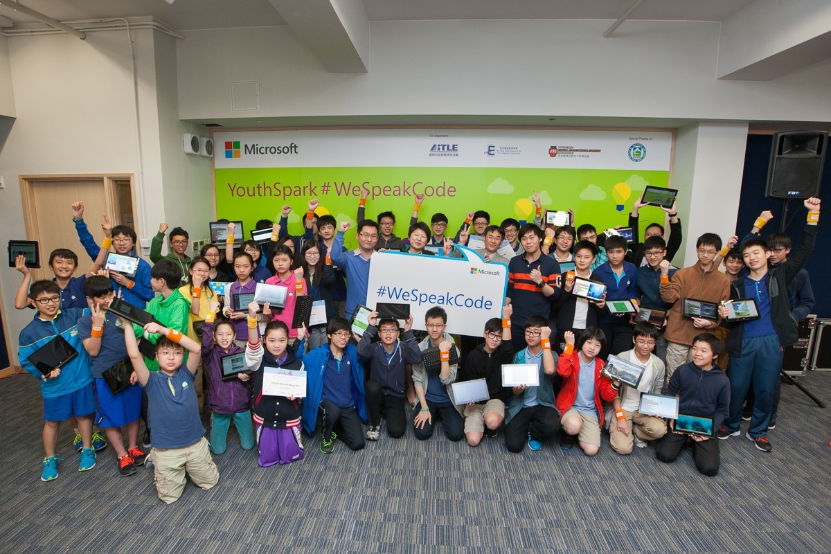 Like these exuberant students from Hong Kong, youth all over Asia Pacific experienced the joys of coding for the first time.