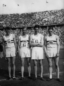"British 4 x 400-meter relay 1936 Olympic gold medalists Godfrey Brown, Frederick ""Freddie"" Wolff, Godfrey Rampling and William Roberts. (Getty Images)"