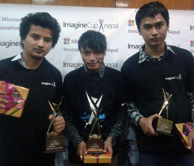 "Amir GC, Sunil Lama and Sangam Shrestha won the Imagine Cup's Nepal competition for their game ""Defend Your Territory."""