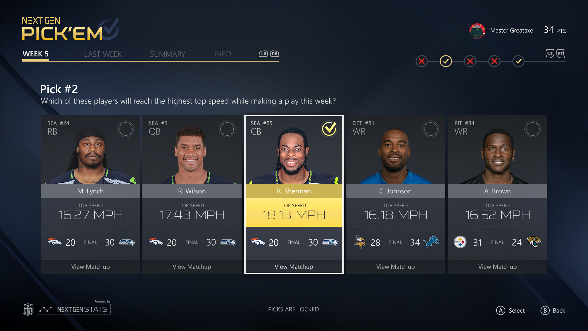 Use Next Gen Stats for picks like top speed.