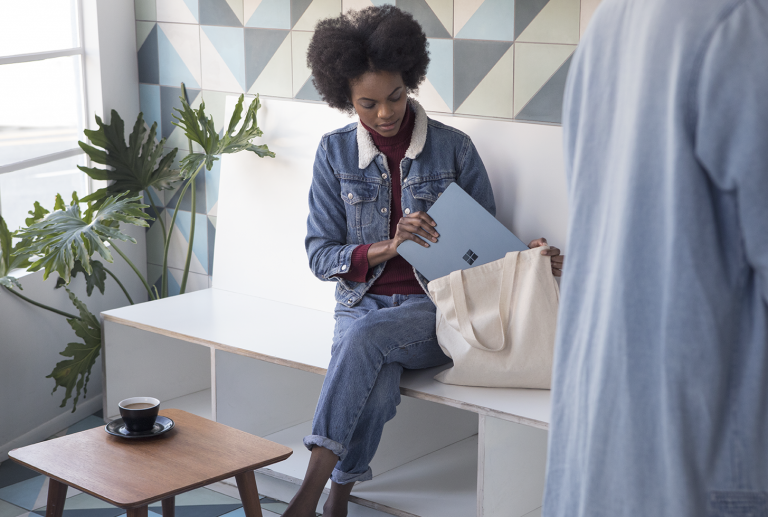 At only 2.76lbs, 14.47mm thin at the back and 9.9mm thin at the front, Surface Laptop slips easily into your favorite bag so you can take it anywhere.