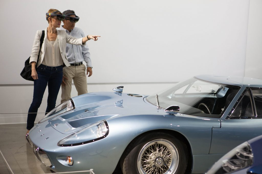 Museum goers experience the Ford HoloLens