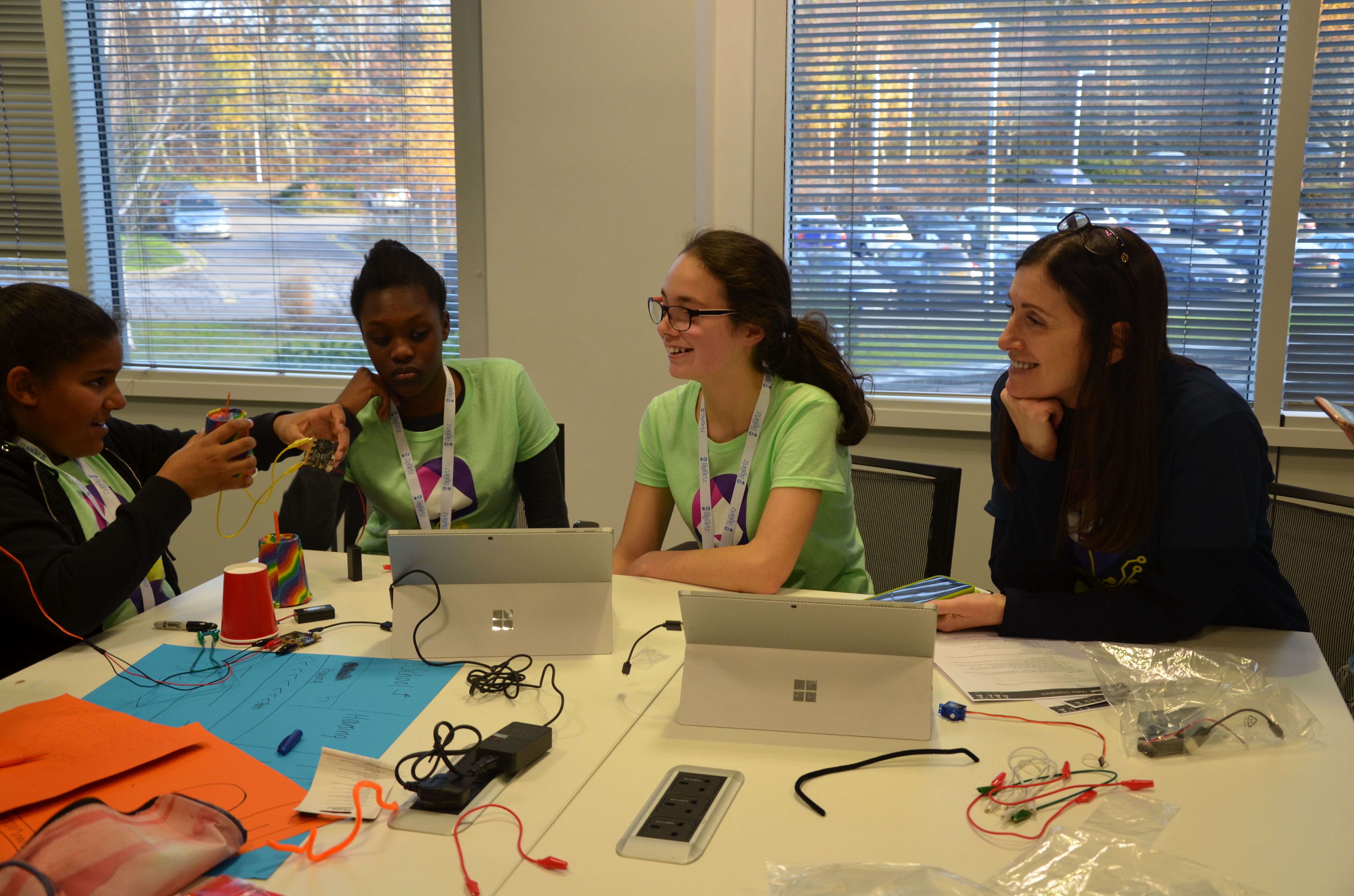 Cindy Rose, Microsoft UK Chief Executive, chats to schoolgirls at the DigiGirlz event
