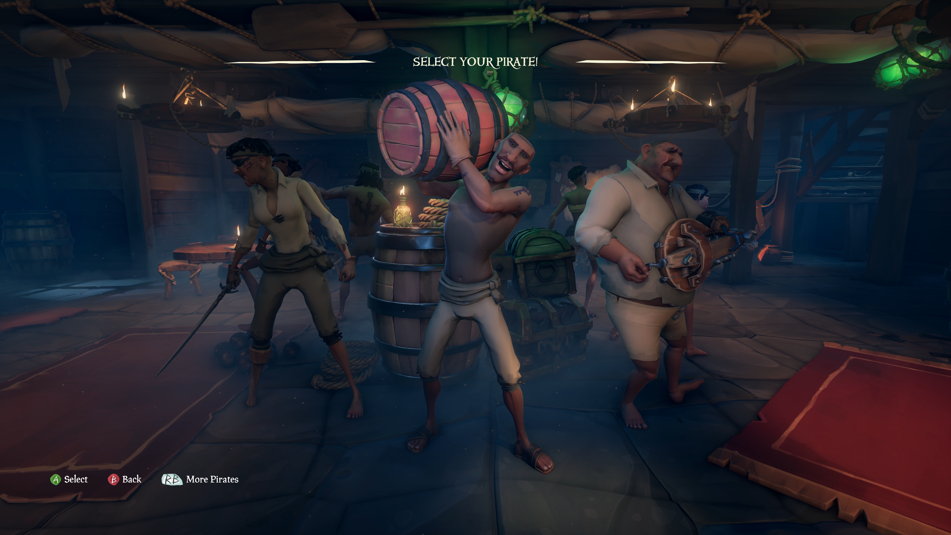 Pirate selection screen in Sea of Thieves