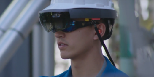 Chevron worker wearing Windows Mixed Reality device