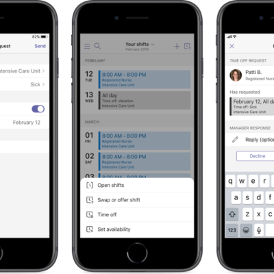 Phones displaying shifts in Microsoft Teams