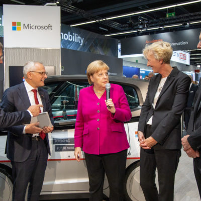 Angela Merkel and Scott Guthrie at Microsoft's IAA booth