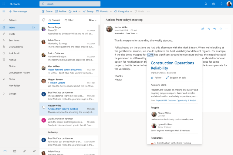 Outlook Inbox with topic card