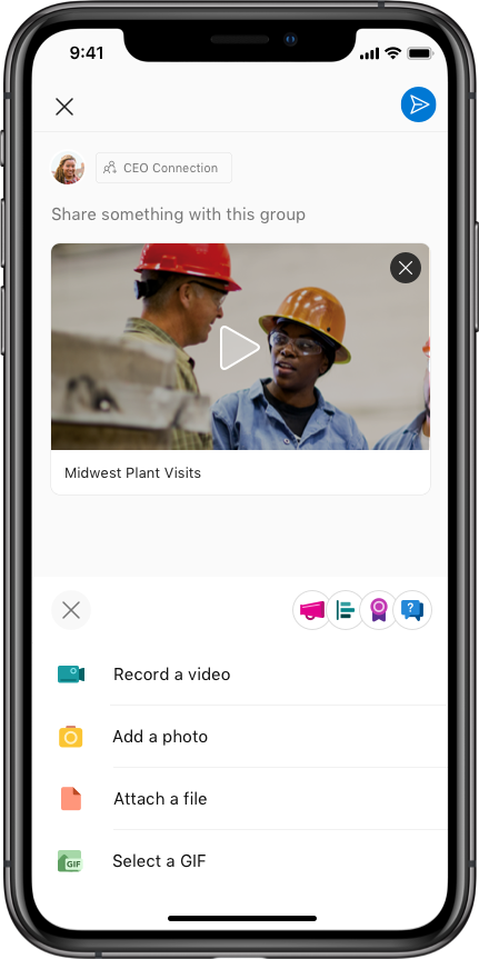 SharePoint Publisher with Video in Yammer for iOS