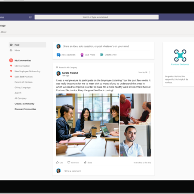 Yammer in Teams home feed