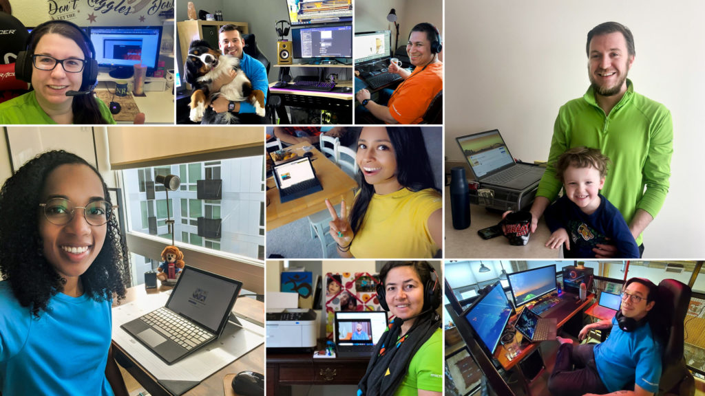 Collage of photos show Microsoft employees working on laptops from their homes