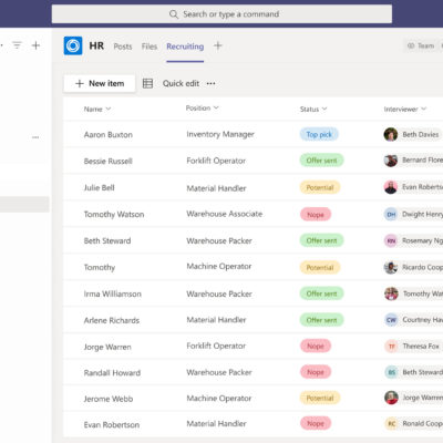 Microsoft Lists in Teams, with a 'pop out' to show dynamic view