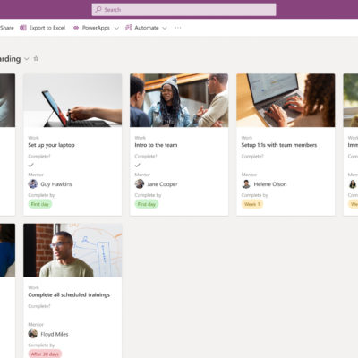Microsoft Lists: Onboarding checklist in gallery view