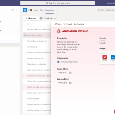 Microsoft Lists: list with Power Apps in Teams