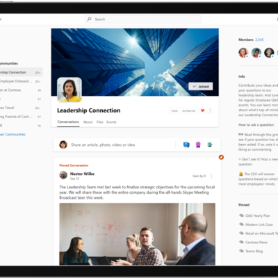 Yammer on a mobile device