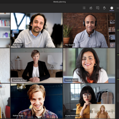 Microsoft Teams meeting with nine participants