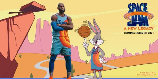LeBron James and Bugs Bunny in an animated desert