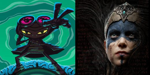 Two side by side images from the video games Psychonauts and Hellblade: Senua's Sacrifice