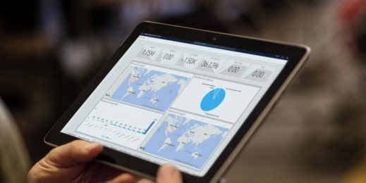 tablet computer displaying maps of the Earth
